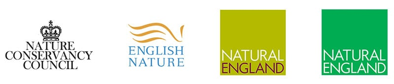Natural England logo changes over time